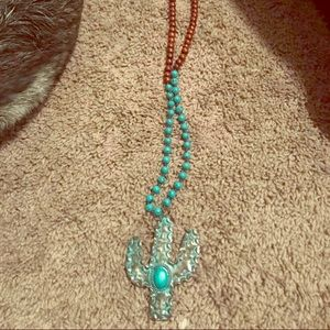 Beaded turquoise cactus necklace
